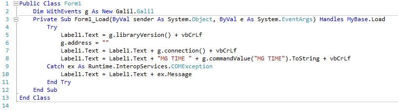 Legacy API Examples | Galil