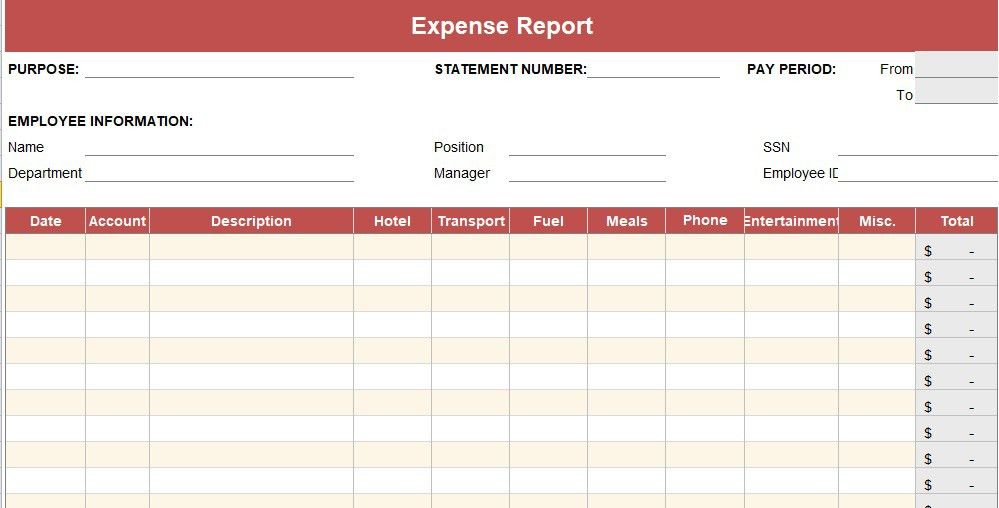 Expense Report Template {Daily - Weekly - Monthly - Annual ...