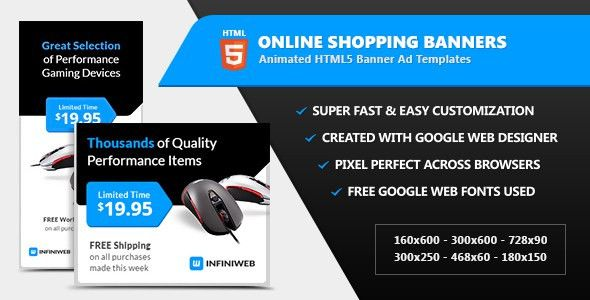 Online Shopping Store Banners - HTML5 Ad Templates by InfiniWeb ...