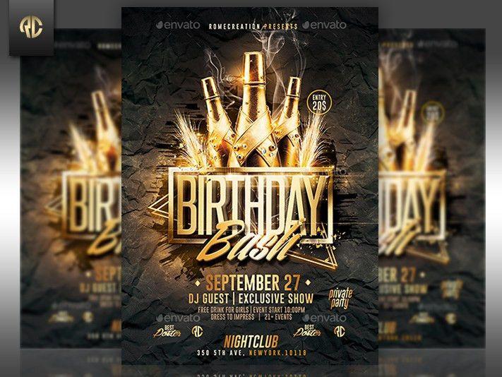 Gold Birthday Bash | Psd Flyer Template by RomeCreation on DeviantArt