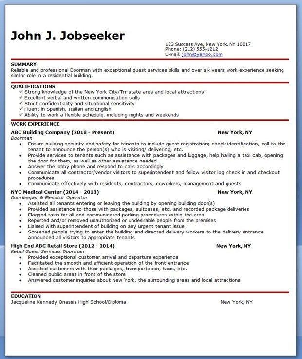 Doorman Resume Sample | Creative Resume Design Templates Word ...