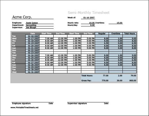 Semi-monthly Timesheet (horizontal orientation) with overtime ...