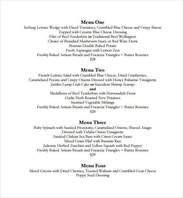 Sample Dinner Menu Template   8+ Free Documents In PDF, Word