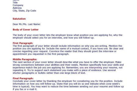 first paragraph of a cover letters