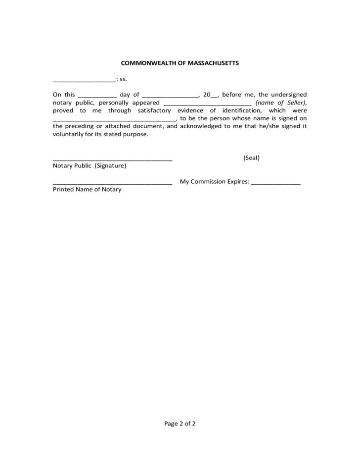 General Form for Bill of Sale of Personal Property - Massachusetts ...