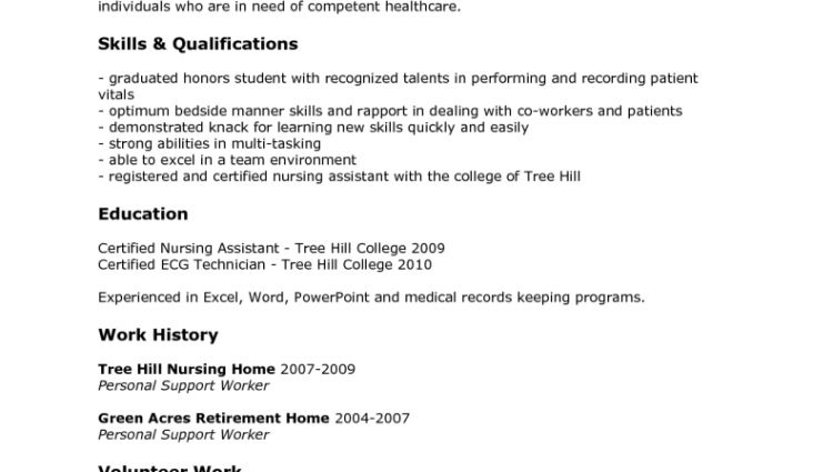 resume for a certified nursing assistant unforgettable nursing