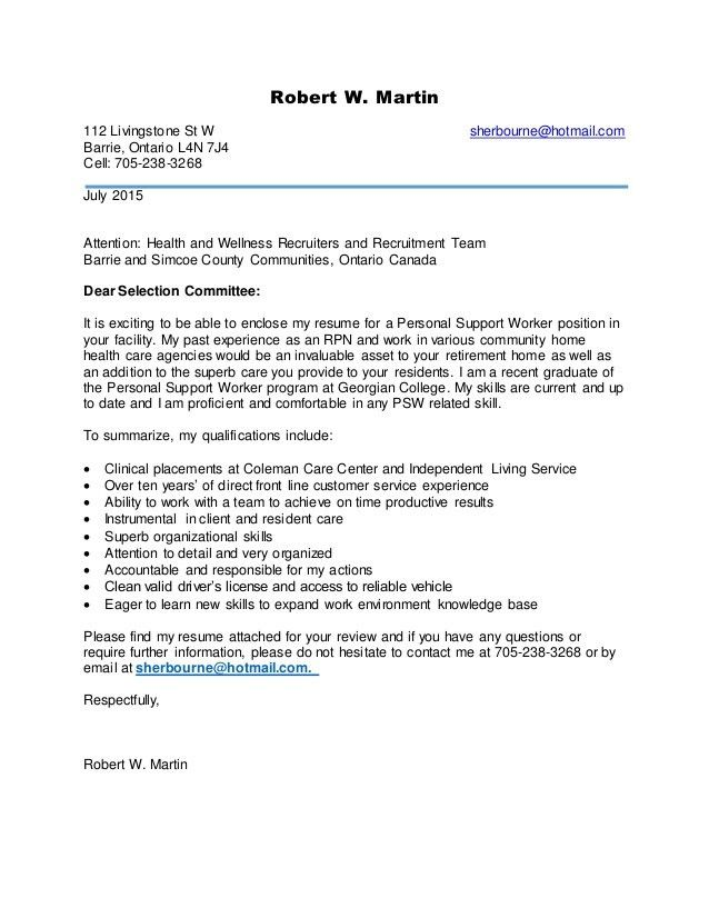 Sample Cover Letter For Support Worker