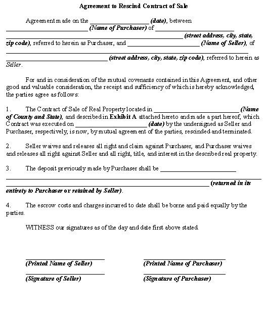 Agreement to Rescind Contract of Sale template - Download from ...