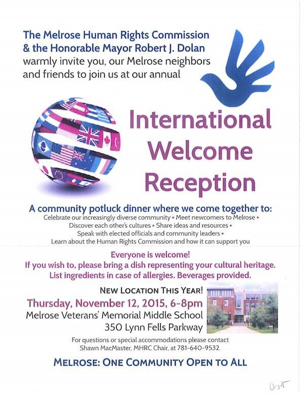 Human Rights International Welcome Dinner Is November 12 - City of ...