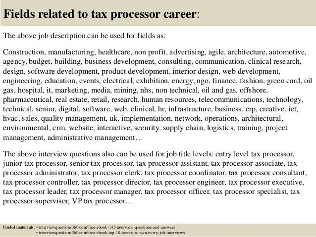 Top 10 tax processor interview questions and answers