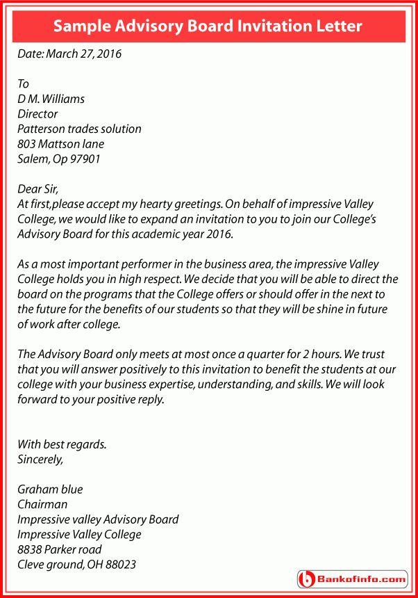 Advisory Board Invitation Letter Sample for College