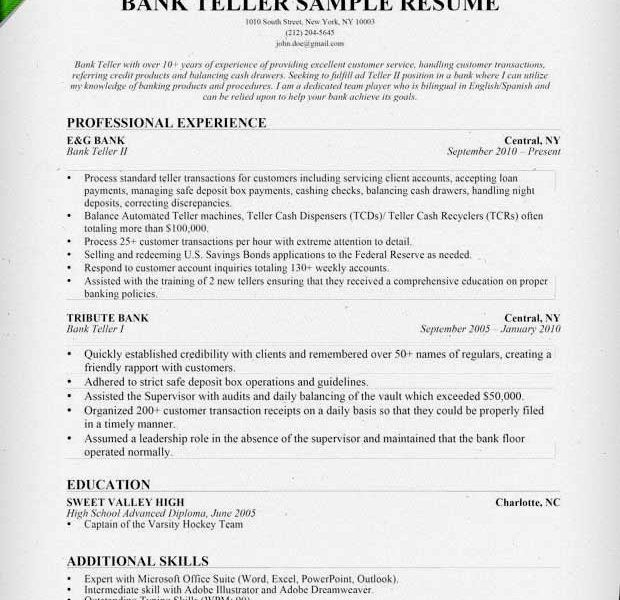 Download Bank Teller Resume Skills | haadyaooverbayresort.com