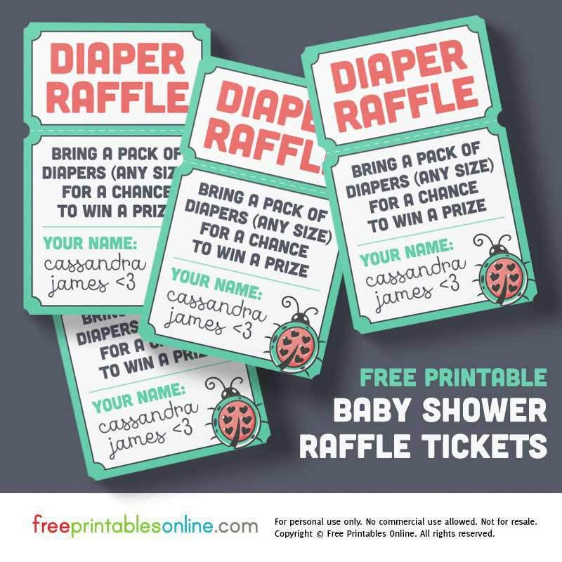 Ladybug Baby Shower Raffle Tickets, Printable & Free | Free ...