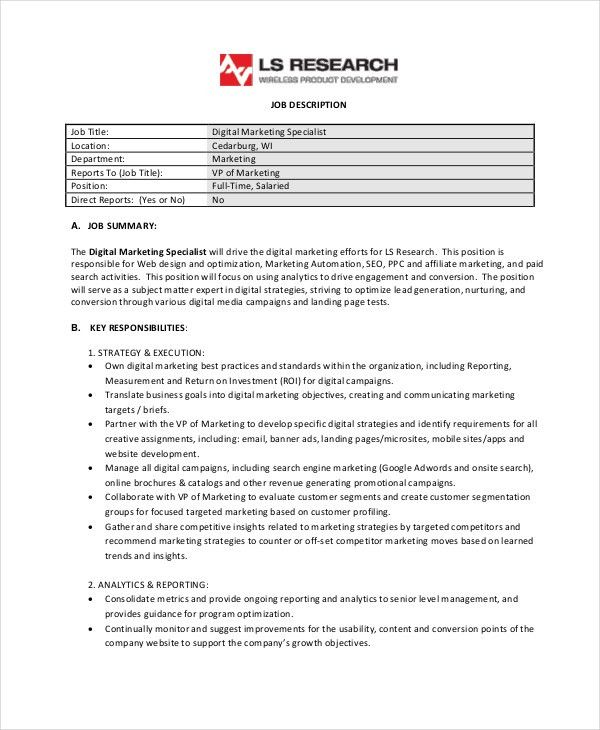 Marketing Specialist Job Description. Marketing Specialist ...