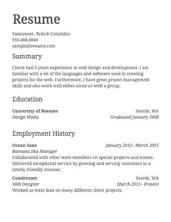 Sample Of Simple Resume For Job | jennywashere.com