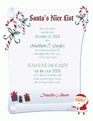 Nice List Certificate Certificate - Christmas Printable Card ...