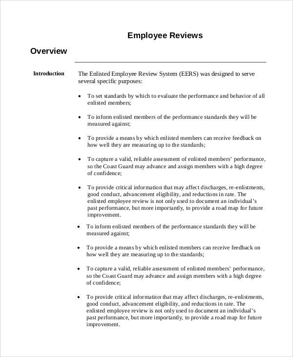Sample Employee Review - 7+ Documents in Word, PDF
