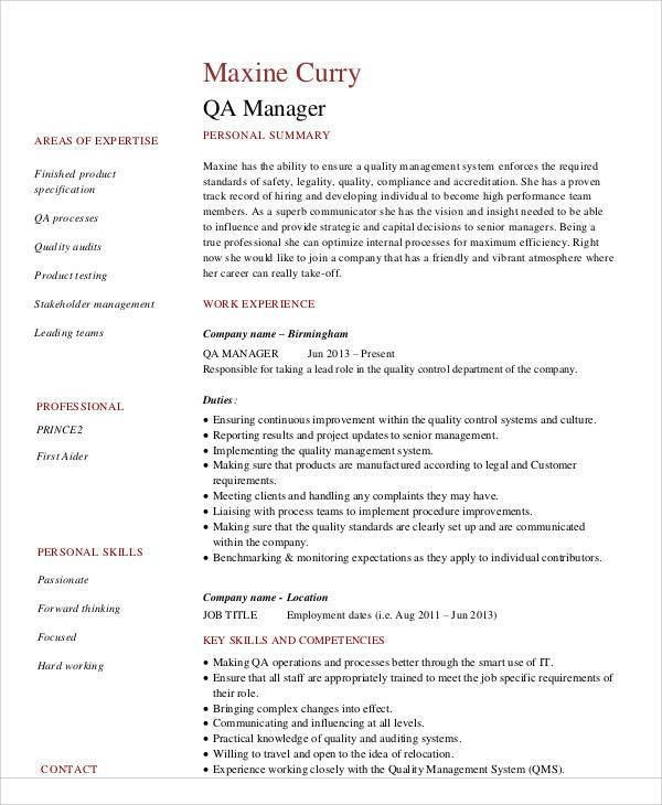 Sample Quality Assurance Resume - 9+ Examples in Word, PDF