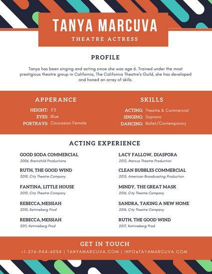 Colorful Diagonal Lines Acting Resume - Templates by Canva