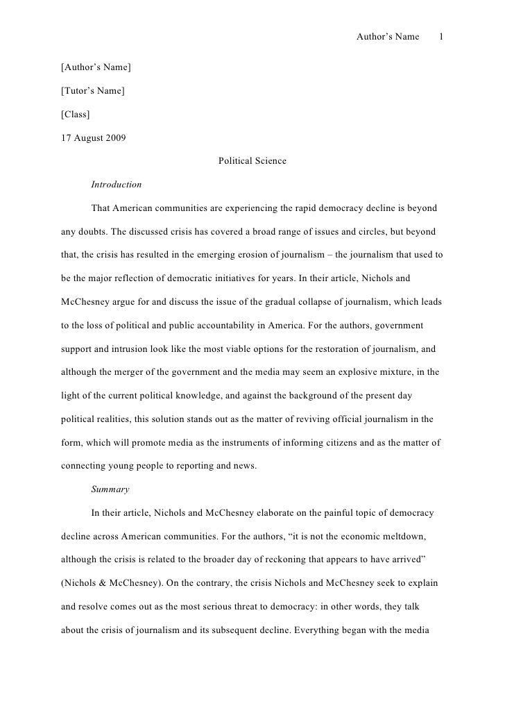 apa style essay example paper