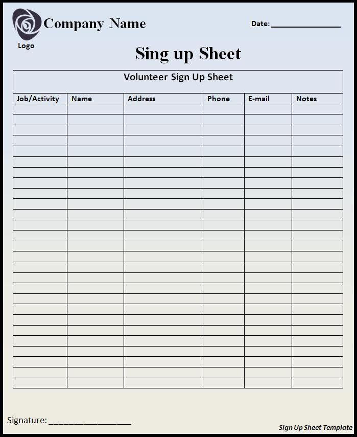 Sign Up Sheet Template - vnzgames