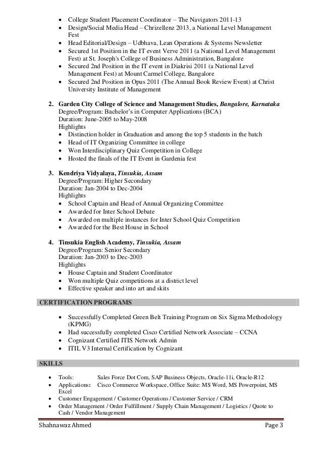 Resume of shahnawaz ahmed supply chain - customer service - mba