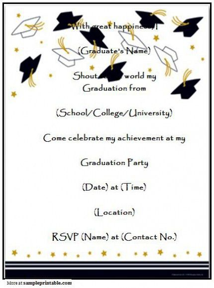 Graduation Invitation Templates Microsoft Word Which Various Color ...