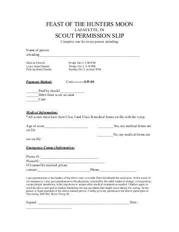 Hunting Permission Slip Template. permission slip templates 9 free ...