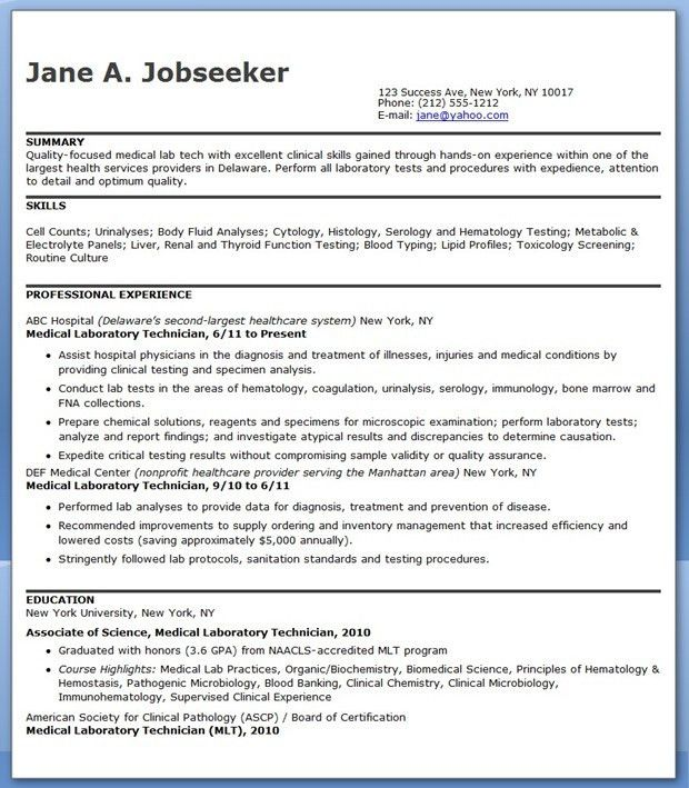 Medical Laboratory Technician Resume Sample | Creative Resume ...