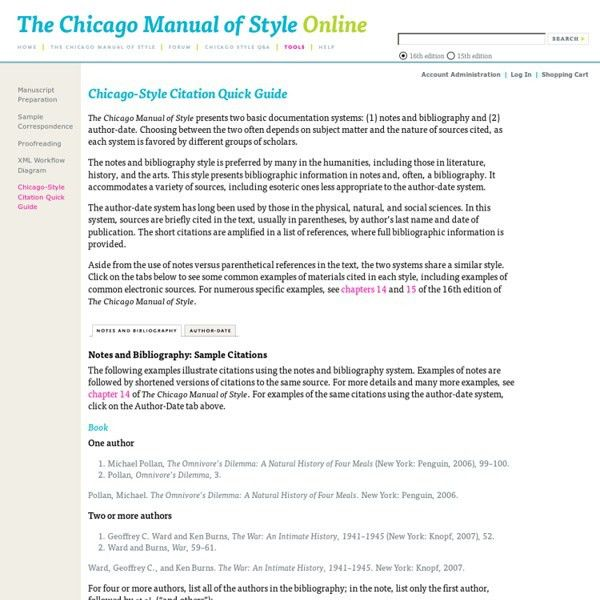 The Chicago Manual of Style Online: Chicago-Style Citation Quick ...
