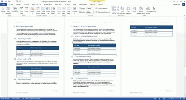 Contingency Plan Templates (MS Word + 9 x Excels)