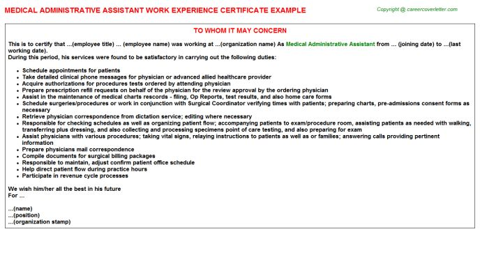 Medical Administrative Assistant Work Experience Certificate