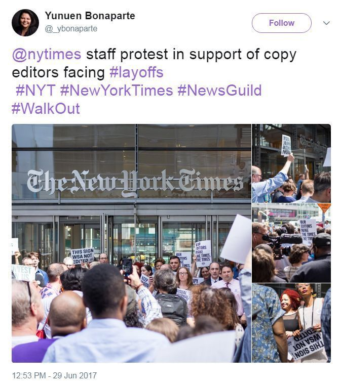 New York Times Employees Stage Walkout Over Editor Jobs | The ...