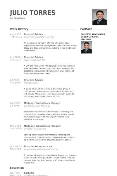 financial advisor resume template design