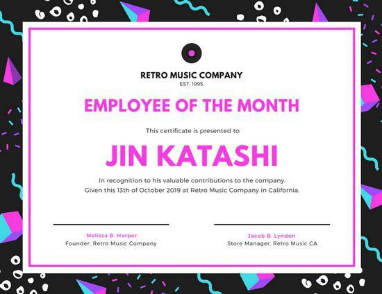 Black Geometric Employee of the Month Certificate - Templates by Canva