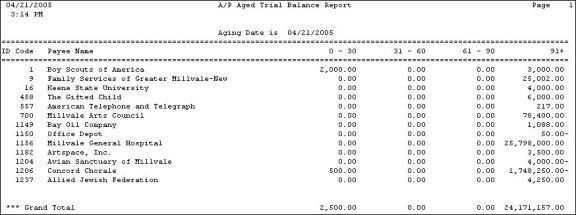 Aged Trial Balance Report (Accounts Payable)