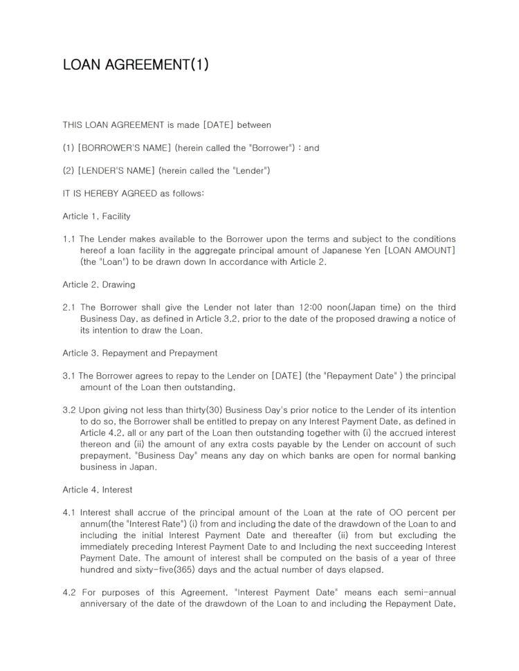 Business Loan Agreement Template Company Loan Agreement Template ...