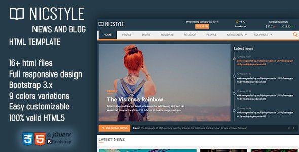 NicStyle - News & Blog HTML Template by EXSYthemes | ThemeForest