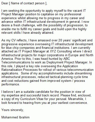 Sample IT Project Manager Cover Letter