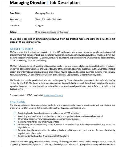 director of operations job description samples