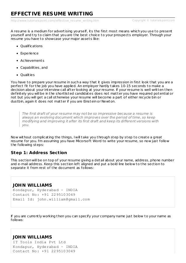 step by step resume writing