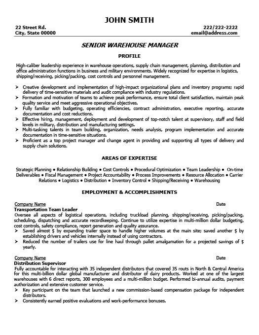 Warehouse Team Leader Resume Format. warehouse manager resume ...