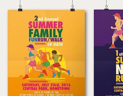 Summer Fun Run Flyer & Poster Template on Behance | Poster & Flyer ...
