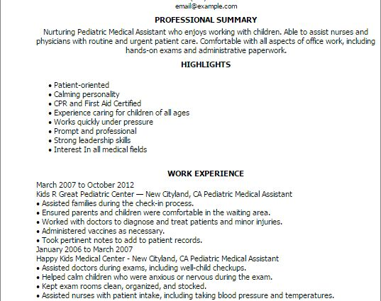 Medical Assistant Resume Summary Samples Sample Resume For Sample ...