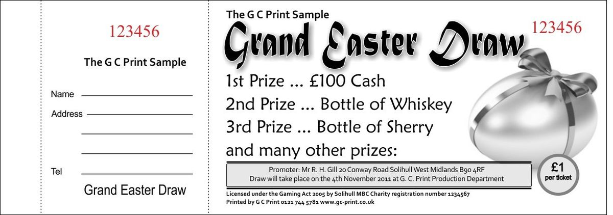 Draw Ticket, Raffle Ticket Samples GC Print, West Midlands.