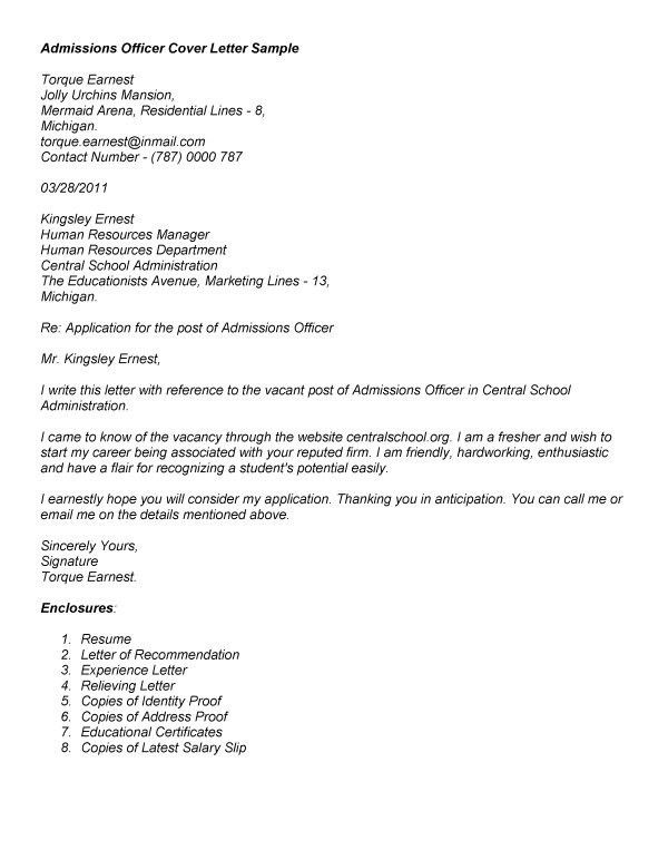 director of admissions cover letters