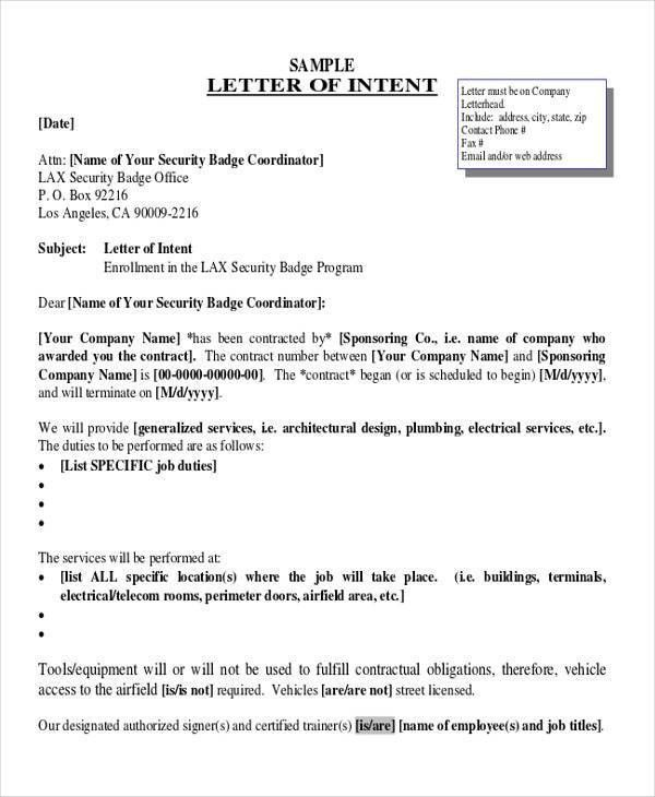 60+ Sample Letter of Intent