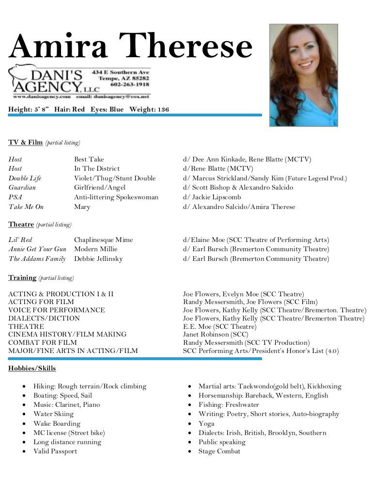 Amira Therese - Acting Resume
