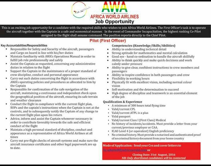 Pilots| First Officer Job Vacancy at Africa World Airlines ...