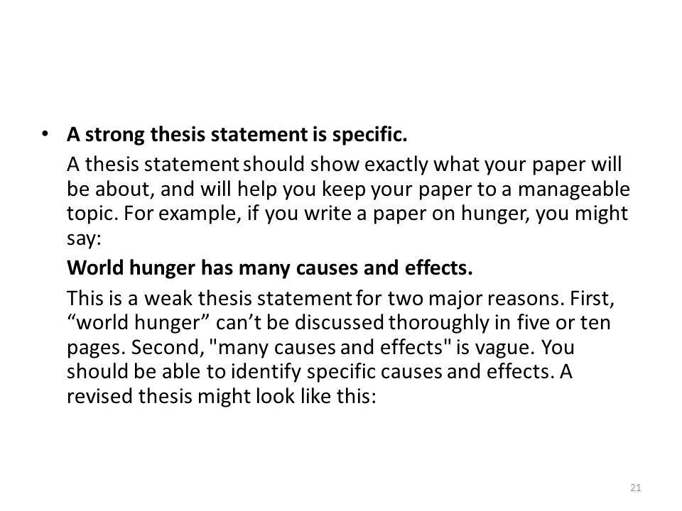 Help writing a strong thesis statement